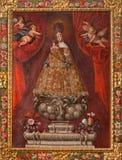 SEGOVIA, ESPAÑA: Pintura de Madonna concedido tradicional en la catedral Nuestra Senora de la Asuncion y de San Frutos de Segovia imágenes de archivo libres de regalías