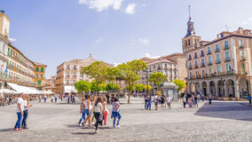 SEGOVIA, ESPANHA - 6 DE SETEMBRO DE 2015: Prefeito da plaza em Segovia Sego Fotos de Stock Royalty Free