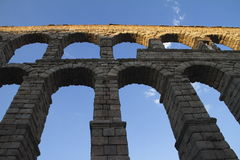 Segovia famous aqueduct in Spain. Segovia famous aqueduct in Spain, heritage of humanity Stock Photo