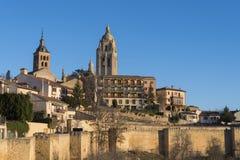 Segovia i dzwonkowy wierza swój katedra Hiszpania zdjęcie royalty free