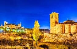 Segovia, Kastilien y Leon, Spanien - Alcazar in der Dämmerung Stockbild