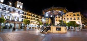 Segovia marknadsfyrkant på natten royaltyfri fotografi
