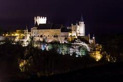 Segovia på nätterna Arkivbild