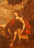 Segovia - a pintura de St John novo o batista na igreja Monasterio de San Antonio el Real por artista desconhecido de 16 centavo Fotos de Stock Royalty Free