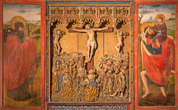 Segovia - The polychrome gothic relief of Crucifixion in atrium of church Monasterio de San Antonio el Real from 15. cent. Stock Photography