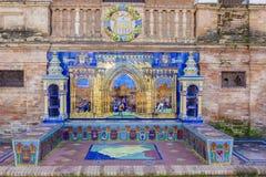 Segovia Provincie, Verglaasde tegelsbank bij het Vierkant van Spanje, Sevilla stock foto