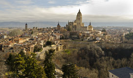 Segovia skyline - Spain. The skyline of Segovia's historical centre in Spain Royalty Free Stock Photo