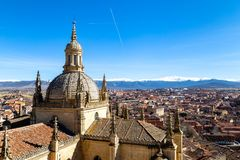 Segovia, Spain – View of the dome of the Cathedral and of Segovia old town from the top of the bell tower during Winter time. Segovia, Spain – royalty free stock photo