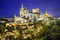 Segovia, Spain Alcazar at Night Stock Image