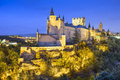 Segovia, Spain Alcazar at Night Royalty Free Stock Photos