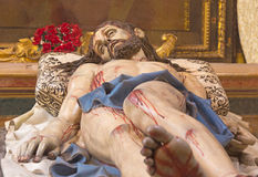 SEGOVIA, SPAIN, APRIL - 14, 2016: The carved statue of death Christ in the tomb & x22;Cristo Yacente& x22; by Gregorio Fernandez Stock Photo