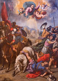 SEGOVIA, SPAIN, APRIL - 14, 2016: The Conversion of St. Paul painting by Ignacio de Ries 1612 - 1661 in Cathedral Stock Images