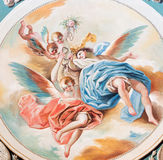 SEGOVIA, SPAIN, APRIL - 14, 2016: The fresco of angels with the rosary by Don Ramon Bayeu & x28;1789& x29; Stock Images