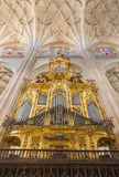 SEGOVIA, SPAIN, APRIL - 15, 2016: The Organs and gothic vault of Cathedral Stock Photo