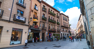 People shopping in the streets of Segovia, Spain Stock Photo