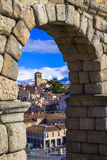 Segovia , Spain - arches of roman aqueduct Royalty Free Stock Photo
