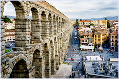 Segovia, Spain. Famous restaurant Meson de la Candido in Segovia, Spain and the historical aqueduct Royalty Free Stock Images