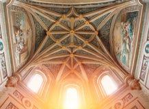SEGOVIA, SPAIN - FEBRUARY 11, 2017: Beautiful gothic decorated c. Eiling interior view of Catedral de Santa Maria de Segovia, Castilla y Leon, Spain Stock Image