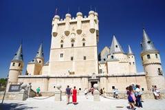 SEGOVIA, SPAIN - JULY 24, 2018: The Alcazar of Segovia. The Spanish word alcázar derives from the Arabic language: fort, castle, or palace. The Alcazar of royalty free stock photo