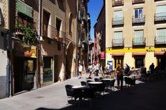 SEGOVIA, SPAIN - JULY 24, 2018: Street terrace cafe in Segovia. Segovia is the capital of Province of Segovia, in the autonomous region of Castile and Leon. The stock image