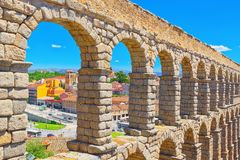 Aqueduct of Segovia or more precisely, the aqueduct bridge is. Segovia, Spain - June 07, 2017 :Aqueduct of Segovia or more precisely, the aqueduct bridge is a Royalty Free Stock Photography
