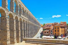Aqueduct of Segovia or more precisely, the aqueduct bridge is. Segovia, Spain- June 07, 2017: Aqueduct of Segovia or more precisely, the aqueduct bridge is a Stock Images