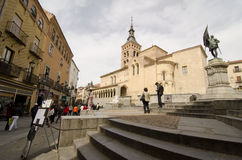 Segovia 1. SEGOVIA, SPAIN - MARCH 3, 2013: People in a street at Segovia. With the nearby Madrid, Segovia is a popular destination for small-scale tourism Royalty Free Stock Images