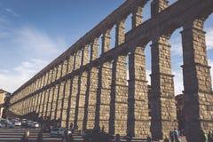 Segovia, Spain - May 6: The Roman Aqueduct of Segovia and the sq Stock Photo