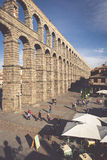 Segovia, Spain - May 6: The Roman Aqueduct of Segovia and the sq Royalty Free Stock Photography