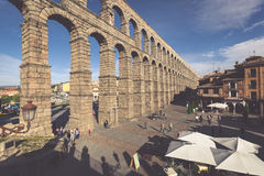 Segovia, Spain - May 6: The Roman Aqueduct of Segovia and the sq Stock Images