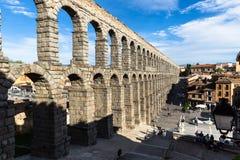 Segovia, Spain - May 6: The Roman Aqueduct of Segovia and the sq Royalty Free Stock Photo