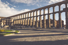 Segovia, Spain - May 6: The Roman Aqueduct of Segovia and the sq Royalty Free Stock Images