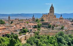Segovia, Spain. Panoramic view in the historic city of Segovia, Spain Royalty Free Stock Photo