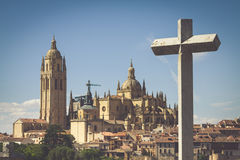 Segovia, Spain. Panoramic view of the historic city of Segovia s Stock Photo