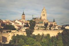 Segovia, Spain. Panoramic view of the historic city of Segovia s Stock Photos