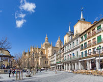 SEGOVIA, SPAIN: The Plaza Mayor square and the Cathedral. Stock Photography