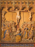 SEGOVIA, SPAIN: Polychrome gothic relief of Crucifixion in atrium of church Monasterio de San Antonio el Real from 15. cent. Stock Photography