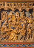 SEGOVIA, SPAIN: Polychrome relief Christ under cross in atrium of church Monasterio de San Antonio el Real from 15. cent. Royalty Free Stock Image