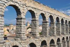 Segovia Spain: Roman aqueduct Stock Images