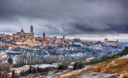 Segovia in Spain snowed in winter. Stock Photo