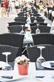 Segovia Spain: tables of restaurant Stock Photography