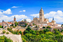 Segovia, Spain. View over the town with its cathedral and medieval walls Stock Photography