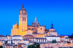 Segovia, Spain. View over the town with its cathedral and medieval walls Stock Image