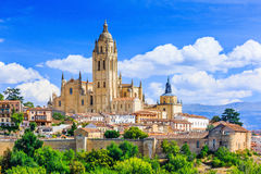 Segovia, Spain. View over the town with its cathedral and medieval walls Royalty Free Stock Photography