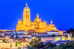 Segovia, Spain. View over the town with its cathedral and medieval walls at twilight Royalty Free Stock Images