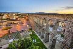 Segovia Spanien akvedukt Arkivbild