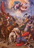 SEGOVIA SPANIEN, APRIL - 14, 2016: Omvandlingen av St Paul målning av Ignacio de Ries 1612 - 1661 i domkyrka Arkivbilder