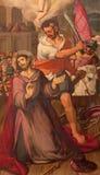 SEGOVIA SPANIEN: Halshuggningen av St James den större målningen i domkyrka av vår dam av antagandet av Alonso Herrera Arkivbild