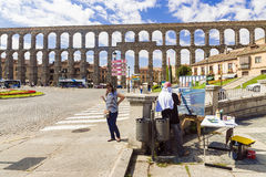 SEGOVIA, SPANIEN - 6. SEPTEMBER: Ein Aquädukt in Segovia-– das lon Stockfotos