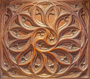SEGOVIA, SPANJE, APRIL - 15, 2016: Het gesneden detail van gotisch koor in Kathedraal Nuestra Senora de la Asuncion y DE San Frut Royalty-vrije Stock Foto